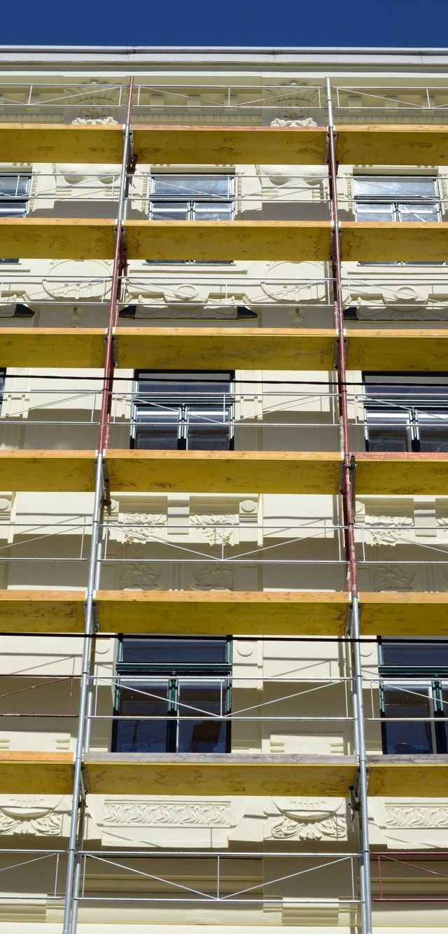 Scaffolding towers set up at an Auckland apartment block