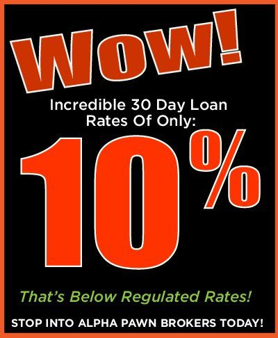 Low Loan Rates at Alpha Pawnbrokers