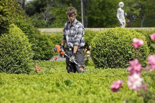 un ragazzo che falcia l'erba alta