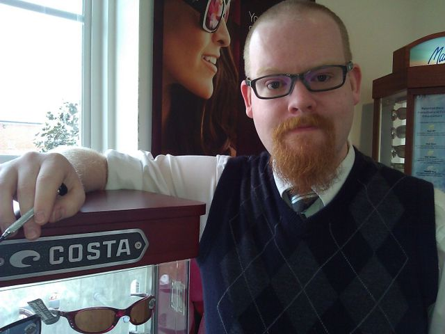 Man with satisfied with his eyewear in Waynesboro, VA