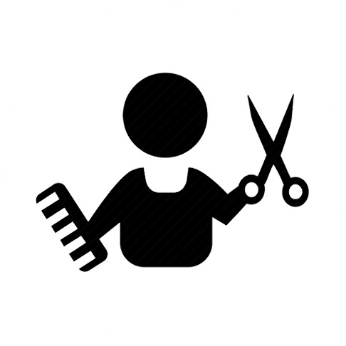Icona di un barbiere con pettine e forbici