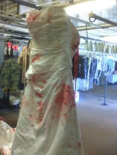 Dry cleaning wedding dress before wedding pictures