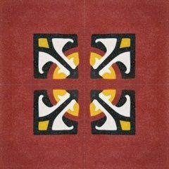 una piastrella di color rosso, giallo e nero