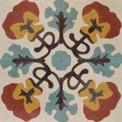 una piastrella di color bianco, arancione, azzurro e giallo con i disegni a fiori