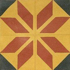 delle piastrelle di color giallo, rosso e grigio