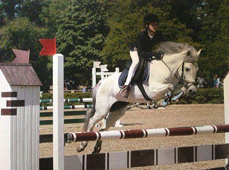 una ragazza durante l'equitazione salto ostacoli con un cavallo bianco