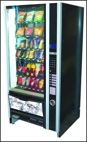 A vending machine with snacks in Gosport filled with items supplied by Elite Drinks Ltd