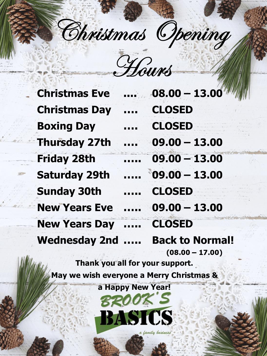 Christmas Opening Hours.Christmas Opening Hours 2018