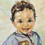 View of a portrait of a cute kid