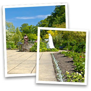 Earth works - North West - Collins Landscapes Ltd - garden with two statues