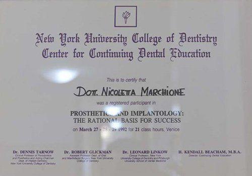 Certificato della facoltà di odontologia di New York