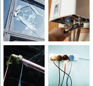 Broken window, boiler breakdown, leaking pipe, and electrical fault