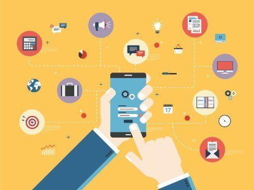 una immagine, in material design, con un uomoche usa uno smartphone