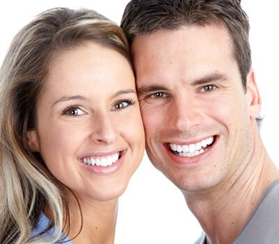 man and lady with chrome dentures