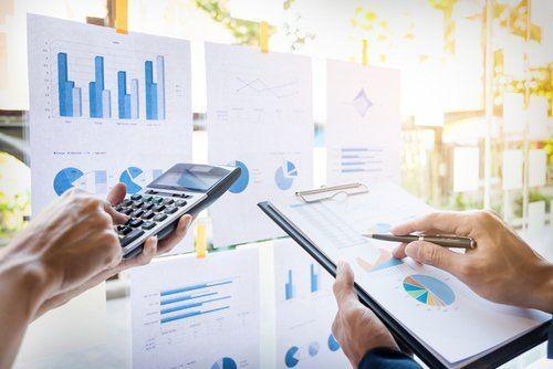 due persone valutano delle statistiche con una calcolatrice