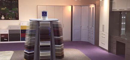 our kitchen & bedroom showroom stocked with sample colours and finishes