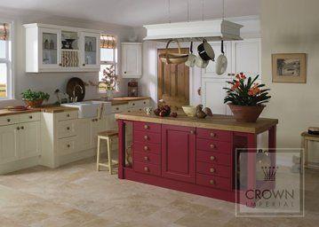 crown imperial kitchen design in cream with aubergine island unit