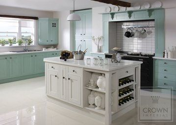 shaker style cotswood kitchen in white and duck egg blue