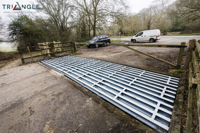 cattle grid with lorry approaching