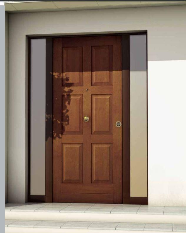 vista dall'esterno di una porta di color marrone