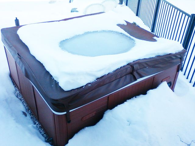 Hot Tub Cover Crushed by Snow