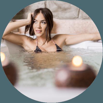 woman in spa pool