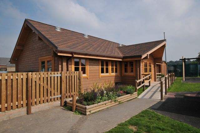 multi-levelled log house