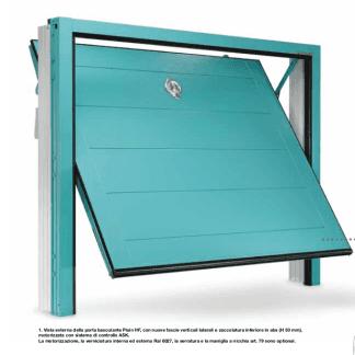 porta azzurra di un garage