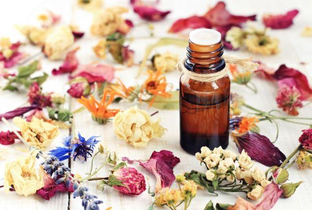 flaconcino olio essenziale e fiori secchi su tavolo