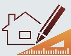 icona di una casa con biro e squadra