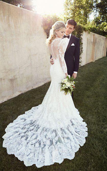 Couple with wedding dress