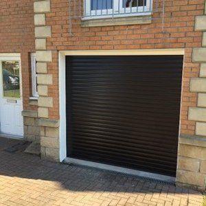 a black garage shutter