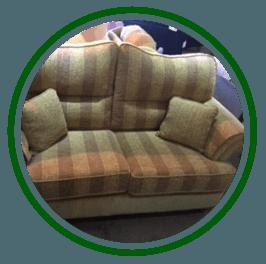 Coffee-and-cream sofa with cream cushions