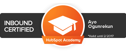 Hubspot-Inbound-Marketing-Certified Ayo Ogunrekun