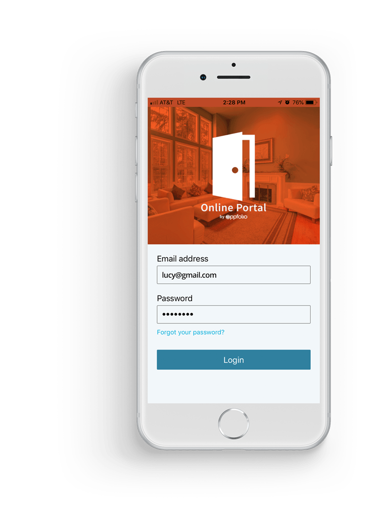 iPhone displaying Online Portal