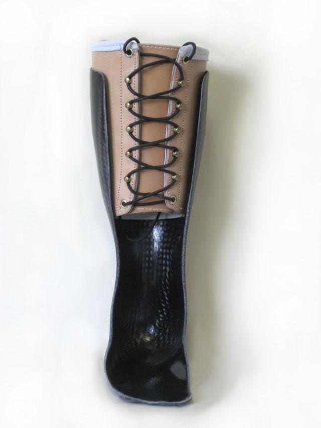 Custom leather ankle foot orthosis (AFO) ankle gauntlet in Bigfork, MT