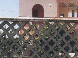 una ringhiera divisoria  in cemento a forma di reticolato e vista di una villa
