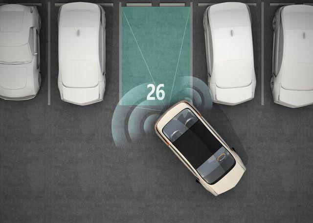 auto stilizzata con sensori di parcheggio