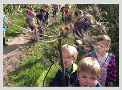 A group of children on an outdoor ramble