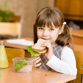A child eating sandwich