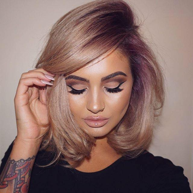 short blond hair with purple roots