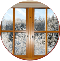 wooden framed windows