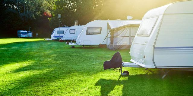 care a van caravans in camping site