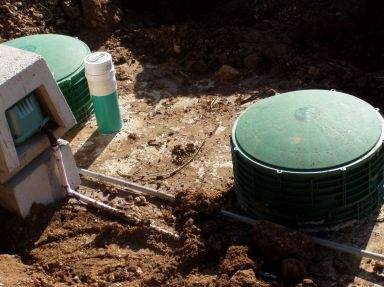 Close up to septic tanks in ground