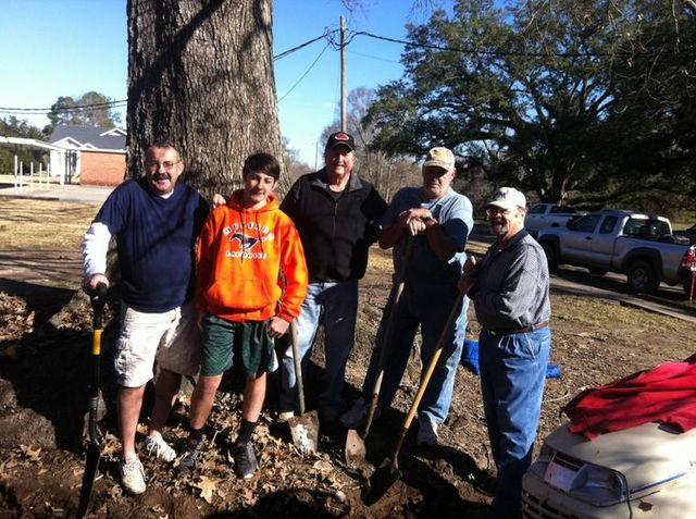 Ditch Diggers:  L-R - Jerry Richard, Ashton Richard, Charles Hardy, Erwin Thibodeaux, and Charles Taylor.  Work is progressing on the Memorial Prayer Garden at St. John Francis Regis Church.