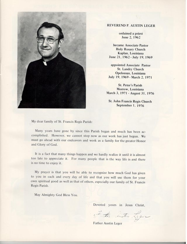 From the 1978 St. John Francis Regis Church Directory