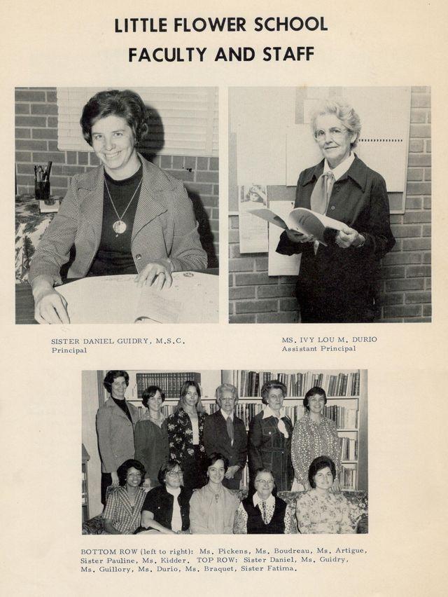 Little Flower School Staff, 1976-1977