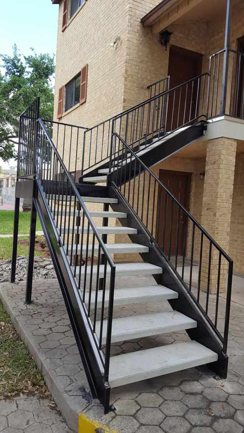 Metal Fence Service U2014 Metal Stairs Outside In San Juan, TX