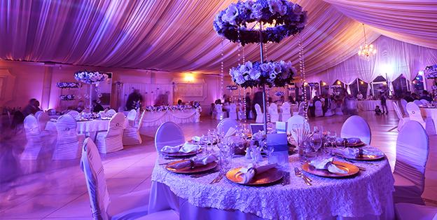 up-lighting wedding tent