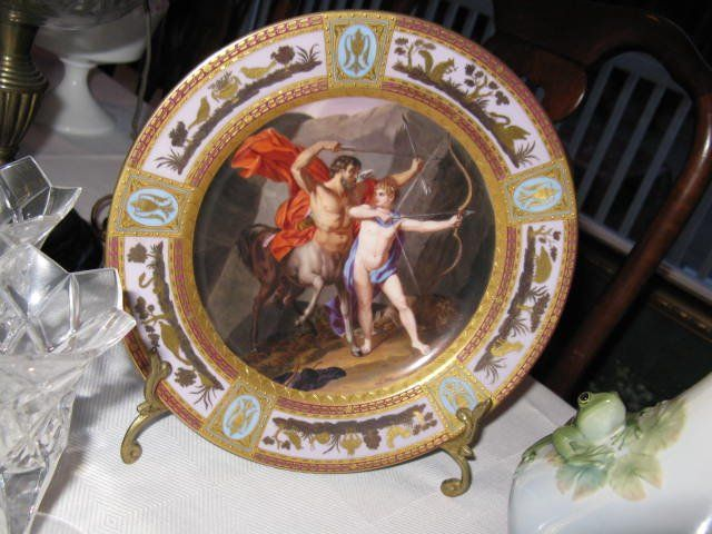 Antique, hand-painted, decorative plate from estate sale